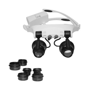 9892GJ-3A Multi-lens Head Wearing Magnifier with 2 LED Light Eye Loupe 10X 15X 20X 25X