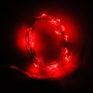 2m 20 LEDs Button Battery Operated LED Copper Wire String Home Decor Party Fairy Lights - Red Light