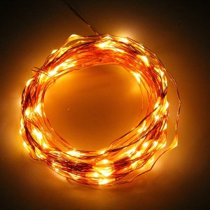 10M 100LED Copper Wire Battery Operated Wedding String Fairy Light Lamp - Warm White
