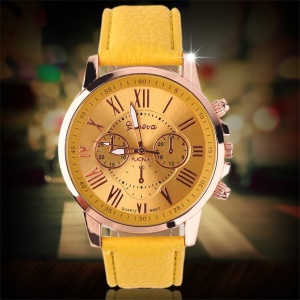 Casual Stylish Numerals PU Leather Alloy Quartz Wristwatch - Yellow