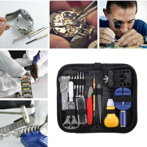 146PCS Watch Repair Tool Kit with Portable Storage Bag Case Holder Tweezer Set