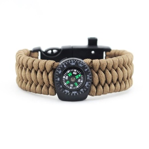 Survival SOS Bracelet with Compass Thermometer for Outdoor Camping Hiking - Brown
