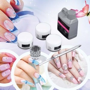 Portable Nail Art Tool Kit Set Crystal Powder Acrylic Liquid Dish
