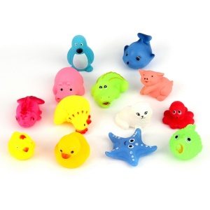 13Pcs/Set Different Squeaky Floating Rubber Animals for Baby Bath Toys