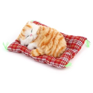 Lovely Simulation Cat Doll Plush Sleeping Cat with Meow Sound Kids Toy - Yellow Cat Random Pad