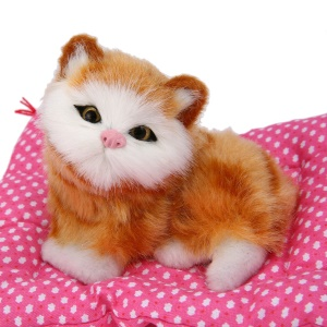 Plush Sleeping Cats with Sound Kids Toy New Lovely Simulation Animal Doll - Yellow