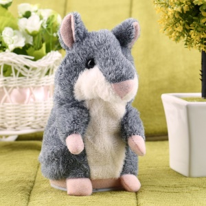 Talking Record Nodding Hamster Mouse Plush Kids Toy Russian Gift - Grey