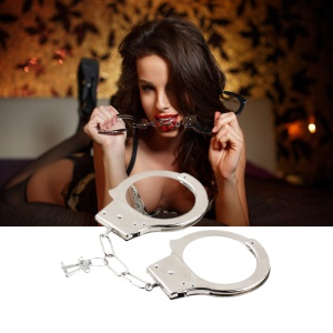1 Pair Creative Professional Handcuffs Sliver Stainless Steel Police Duty Double Lock Keys