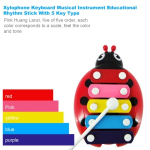 Xylophone Keyboard Musical Instrument Educational Rhythm Stick With 5 Key Type - Red