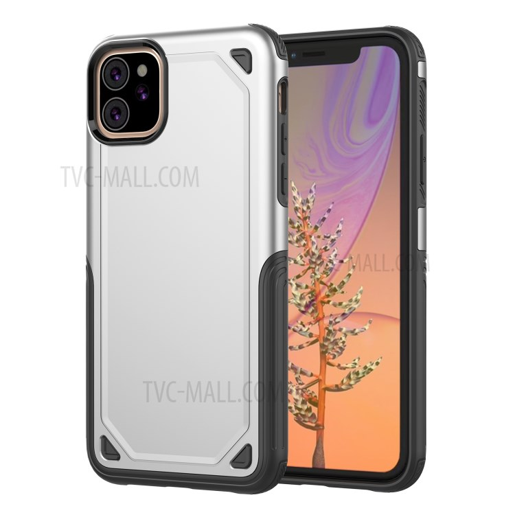 Plastic + TPU Hybrid Rugged Armor Case for iPhone (2019) 6.1-inch - Silver-1