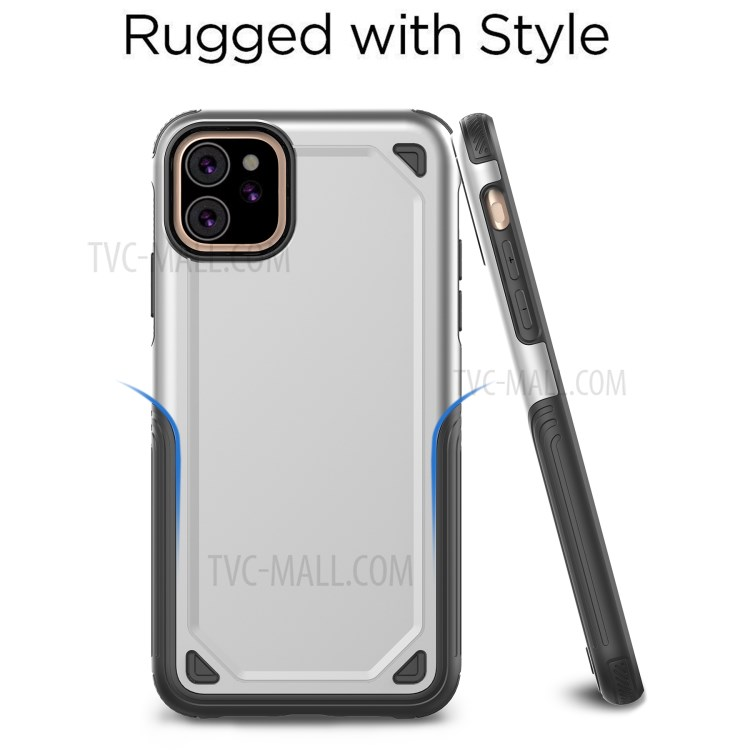 Plastic + TPU Hybrid Rugged Armor Case for iPhone (2019) 6.1-inch - Silver-2