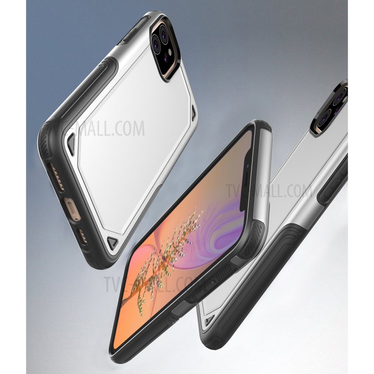 Plastic + TPU Hybrid Rugged Armor Case for iPhone (2019) 6.1-inch - Silver-4