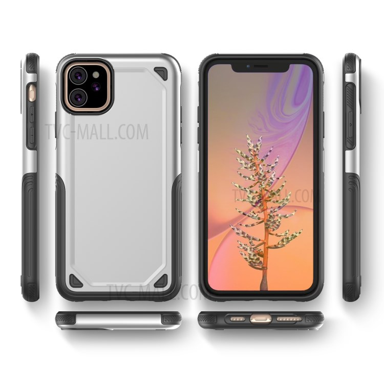 Plastic + TPU Hybrid Rugged Armor Case for iPhone (2019) 6.1-inch - Silver-5