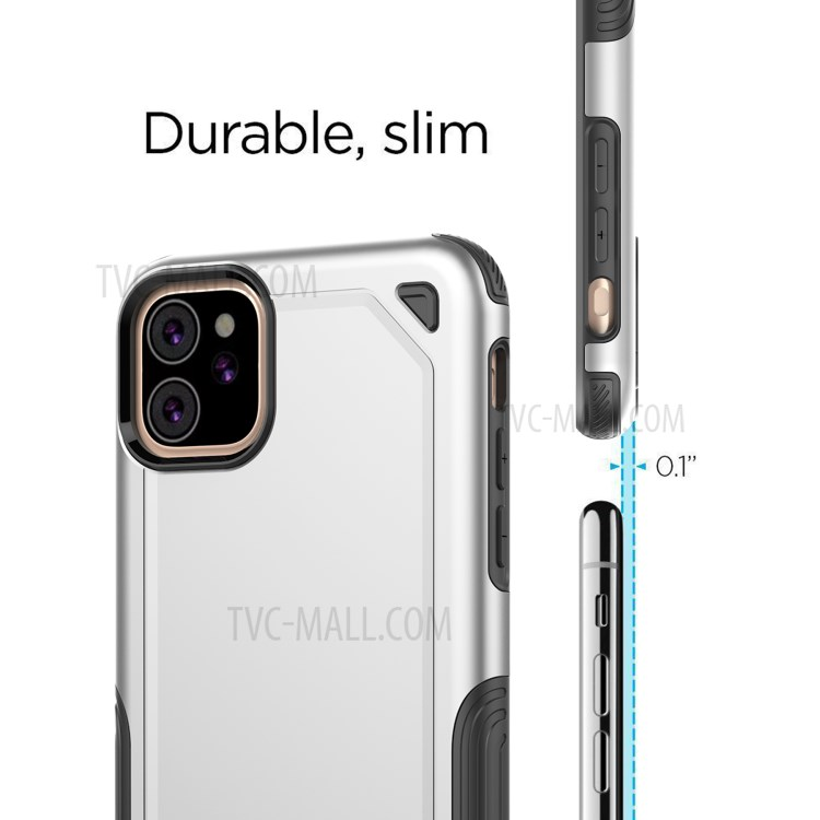 Plastic + TPU Hybrid Rugged Armor Case for iPhone (2019) 6.1-inch - Silver-7