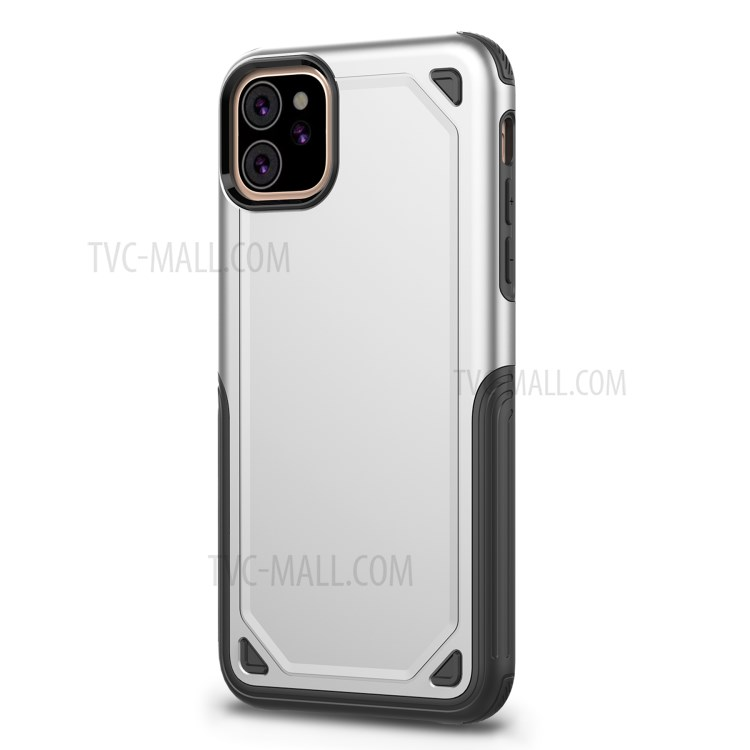 Plastic + TPU Hybrid Rugged Armor Case for iPhone (2019) 6.1-inch - Silver-8